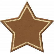 Painted Chipboard Star- Brown & Cream