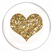 Heart Glitter Brad- White & Gold