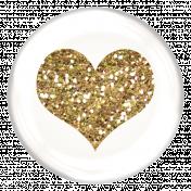 Heart Glitter Brad- White & Gold