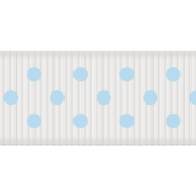 Medium Ribbon- Polka Dots 01- White & Blue