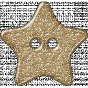 Plastic Glitter Star- Gold