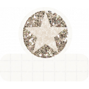 Glitter Star Tab - White & Tan