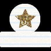 Glitter Star Tab- Gold & White