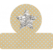 Glitter Star Tab - Tan & Blue