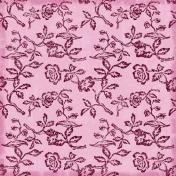 Floral Paper- Pink Glitter