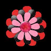 Pink Red Black Flower