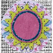 Paper Glitter Flower- Green & Pink
