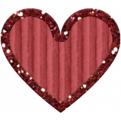 Cardboard Glitter Heart- Red- Small