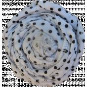 White & Black Polka Dot Fabric Flower