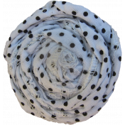 White & Black Polka Dot Fabric Flower