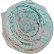 Teal & White Fabric Flower