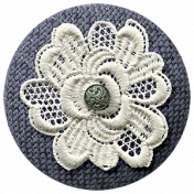 Country Wedding- Fabric Flower Button