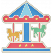 At The Fair- Merry Go Round Sticker