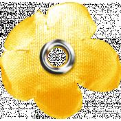 Sand And Beach- Fabric Flower Rivet Yellow