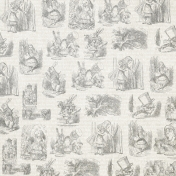 Dark Gray Alice in Wonderland Paper