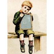Reading, Writing, and Arithmetic- School Boy Card
