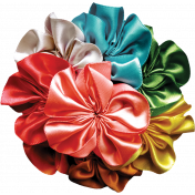 Multi-Colored Satin Flower Ball