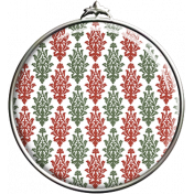 Damask Pattern Circle Pendant