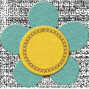 Teal Felt Flower