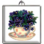 Pansies Square Pendant