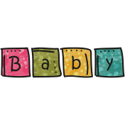 Tiny, But Mighty- Baby Blocks Word Art Doodle