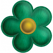 Quilted With Love- Vintage Green Stitched Flower