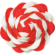 Christmas Memories Ric Rac Flower- Red & White