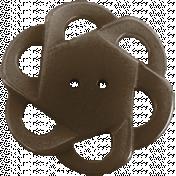 Be Mine Mini Flower Button- Brown