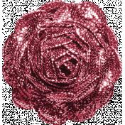 Be Mine Mini Glitter Ric Rac Flower- Pink