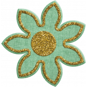 Quilted With Love- Modern- Green Fabric Glitter Flower