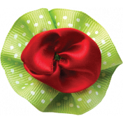 Red and Green Ribbon Flower