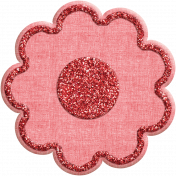 Quilted With Love- Modern- Red Fabric Glitter Flower