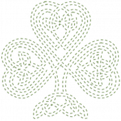 The Lucky One- Green Celtic Clover Stitching