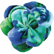Pond Life - Blue-Green Fabric Flower