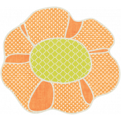 Garden Party- Orange Flower Doodle 1