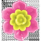 Garden Party- Pink Flower Button