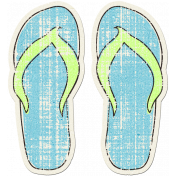 Tropics Sticker Flip Flops Blue