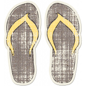 Tropics Sticker Flip Flops Gray