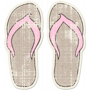 Tropics Sticker Flip Flops Tan