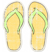Tropics Sticker Flip Flops Yellow