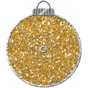 Touch of Sparkle Christmas Ornament Yellow Glitter 02