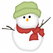 Snow Day Snowman Green Hat