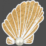 ::Pearl:: Gold Oyster with Pearl Sticker