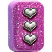 ::Vanessa:: Glitter Button w/ Hearts