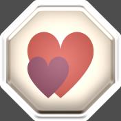 ::Fall in Love Kit:: Puffy Octagon Heart Sticker