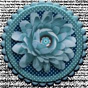 Aqua Navy Blue Chipboard & Flower