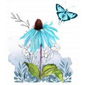 Aqua Navy Blue Botanical Transfer with Butterfly