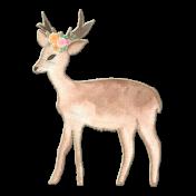 Watercolor Deer with Flower Garland Chipboard