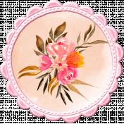 Pink & Orange Watercolor Flower in Frame