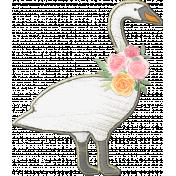 Swan with Pink & Orange Garland Chipboard